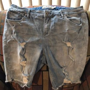 Torrid ripped jean long shorts 16
